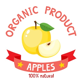 Vector illustration of organic badge with yellow apple isolated
