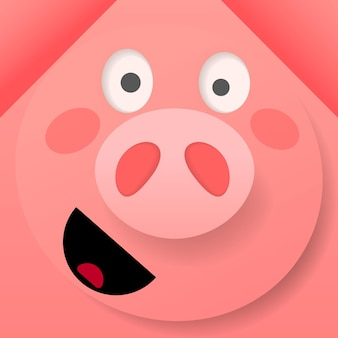 Vector illustration of origami pink cheerful pig on pink background