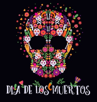 Vector illustration of an ornately decorated day of the dead dia de los muertos skull.