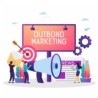 Vector illustration of outbound marketing