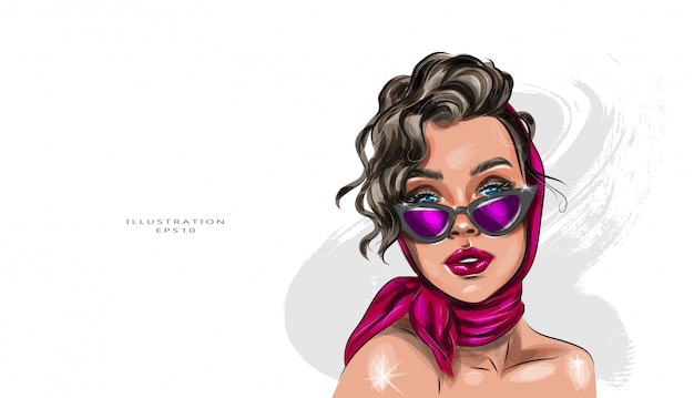 Vector illustration. outdoor close-up fashion portrait of an elegant woman in a fashionable red scarf, black glasses with a cat's eye, and bare shoulders.
