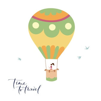 Vector illustration of outline hot air balloon on sky. isolated hand drawn icon