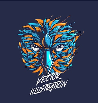 Vector illustration of owl head, colorful