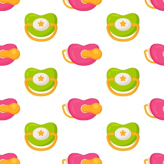 Vector illustration of the pacifier pattern. baby pacifier seamless background pattern. baby toy pacifier sign symbol pattern. seamless pattern.