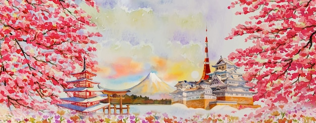 Vector illustration paintings watercolor travel landmarks famous of japan in asia. fuji mountain, beautiful architecture with spring season background, popular tour attraction business city.