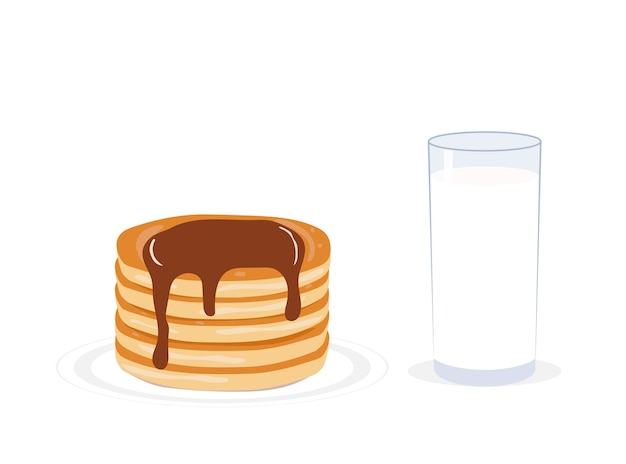 Vector illustration pancakes and milk