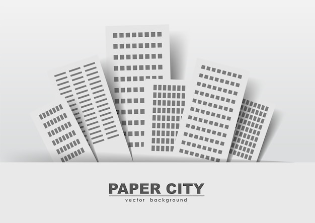 Векторная иллюстрация: бумажные стикеры зданий, город.