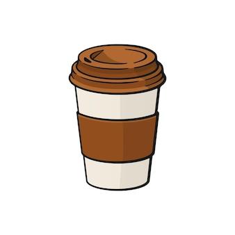벡터 일러스트 레이 션 커피 또는 차와 종이 컵 뜨거운 음료와 주사위 상자