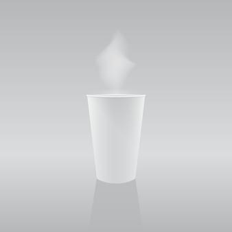 ベクトルイラスト:ホットコーヒーまたは紅茶と紙コップ