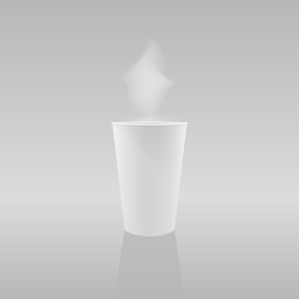 Vector illustration: paper cup with hot coffee or tea