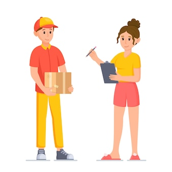 Vector illustration of parcel receipt the customer picks up his order from the courier