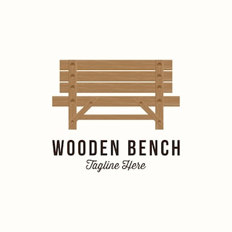 Vector illustration of park chair logo design. vector park wooden bench.