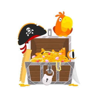 Vector illustration, parrot and chest of gold, format eps 10