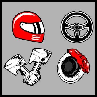 Vector illustration of a parts car set