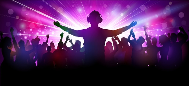 Vector illustration of party people in club