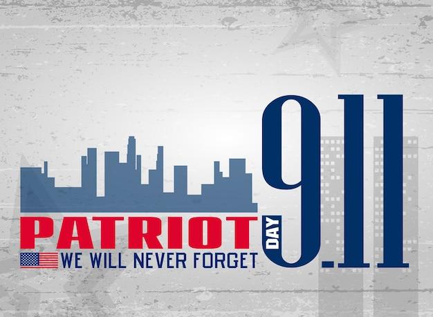 Vector illustration for patriot day. 11 th september. lettering.
