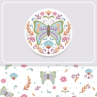 Vector illustration and pattern of cute butterfly and flowers