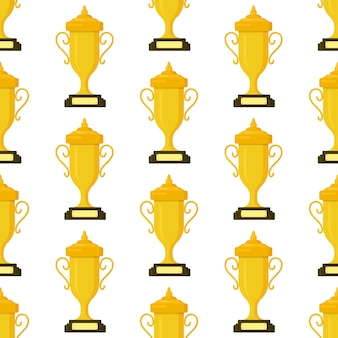 Vector illustration of the pattern of gold cups isolated on a white background. olympic champion. seamless drawing of cups for first place. winner