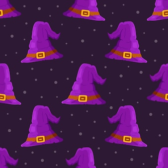 Vector illustration of a pattern of purple witch hats against a background of stars. infinity pattern for fabric, wrapping paper. image of a witch.