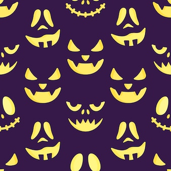 Vector illustration of a pattern of scary faces. seamless drawing. halloween holiday print.