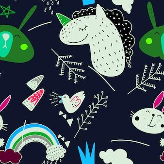 Vector illustration pattern set of cute animal