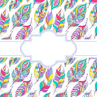 Vector illustration of pattern with colorful feathers