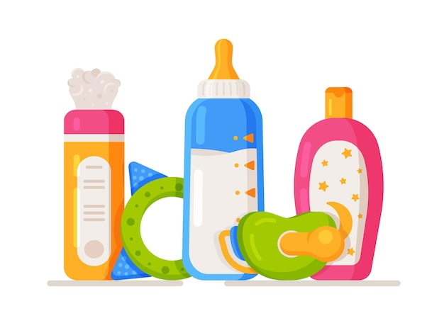 Vector illustration of pediatric care. baby care kit. concept from: pacifier, powder, shampoo, milk in a jar and a toy.
