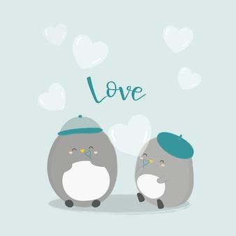 Illustrazione vettoriale di pinguino con illustrazione di cuore.