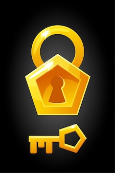 Vector illustration of a pentagonal shape lock key. key graphic simple gold icon.