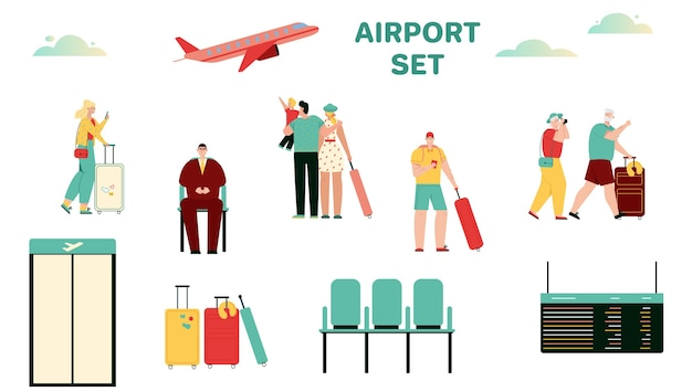 Vector illustration of people at airport terminal scene set