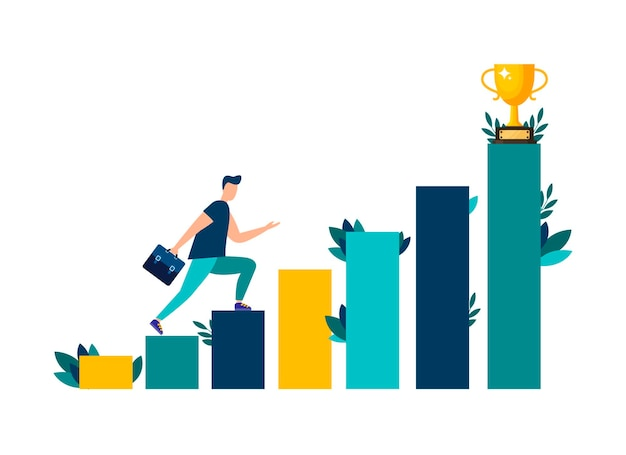 Vector illustration people are running towards their goal on the stairs or columns moving up