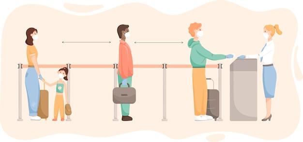 벡터 일러스트레이션 사람들 남성 여성과 어린이는 전염병에서 거리를 두고 줄을 서서 공항에서 탑승 또는 체크인을 기다리고 있습니다.