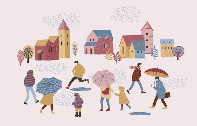 Vector illustration of people in the rain. autumn mood.