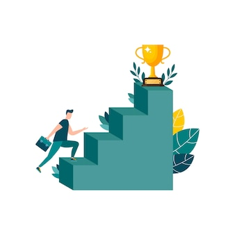 Vector illustration people running to the destination uphill moving to their dreams