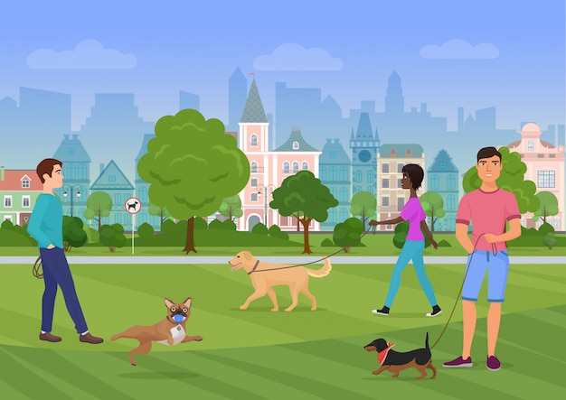 Vector illustration of the people walking with dogs in the city park