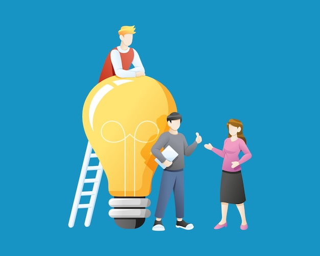 ベクトルイラスト大きな電球のアイデアを持つ人々