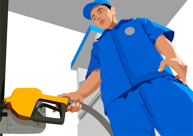 Vector illustration of a person filling up a fuel tank