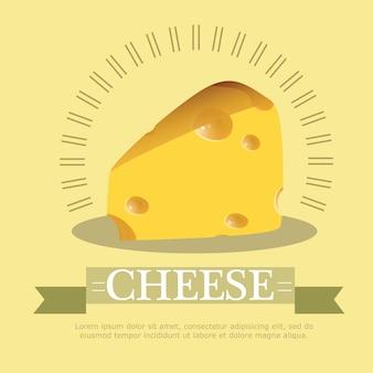 ベクトルイラスト黄色の背景にチーズのかけら