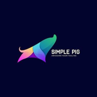 벡터 일러스트 레이 션 돼지 그라데이션 다채로운 로고 템플릿
