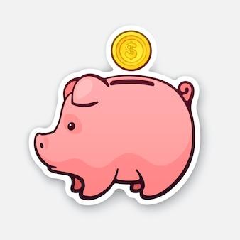 벡터 일러스트 레이 션 현금 돈에 대 한 돼지 저금통 달러 동전 가정 예산 스티커의 상징