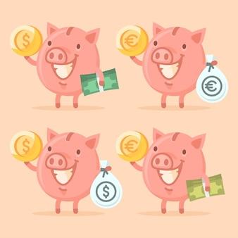 ベクトルイラスト、お金を保持している貯金箱、フォーマットeps 10