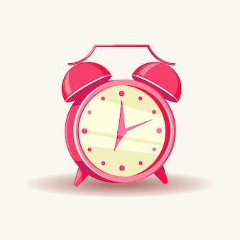 Vector illustration of a pink alarm clock