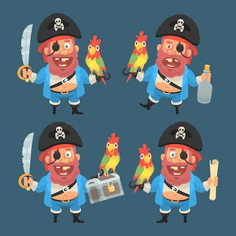 Vector illustration, pirate character in different variants, format eps 10