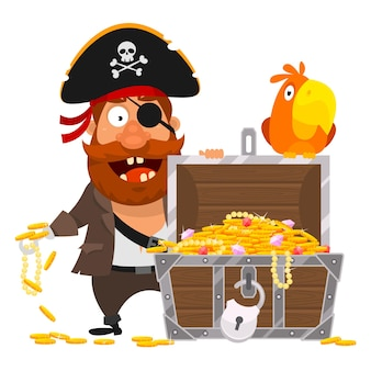 Vector illustration, pirate parrot and chest of gold, format eps 10