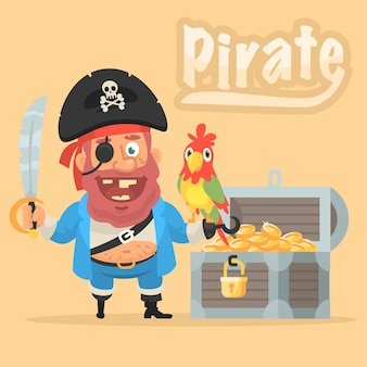 Vector illustration, pirate with parrot and chest with gold, format eps 10