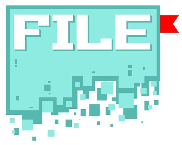 A vector illustration of pixel art file icon with red bookmark