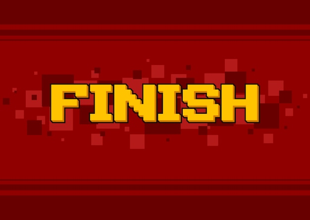 A vector illustration of pixel art finish screen design on red background