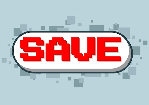 A vector illustration of pixel computer game save text screen