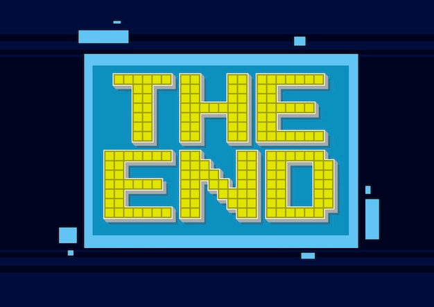 A vector illustration of pixel computer game yellow text the end