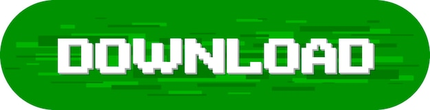 A vector illustration of pixel download text screen on green background